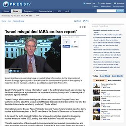 Israel misguided IAEA on Iran report'