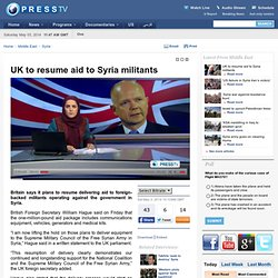 UK to resume aid to Syria militants