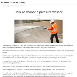 How To choose a pressure washer - Builders cleaning Sydney