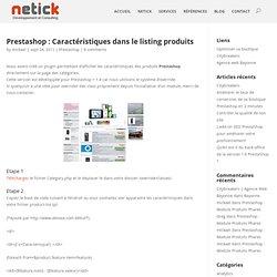 création de site Prestashop : Caractéristiques dans le listing produits