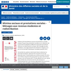 Minima sociaux et prestations sociales - Ménages aux revenus modestes et redistribution - Panoramas de la DREES - Ministère des Affaires sociales et de la Santé