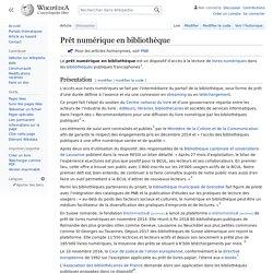 Wikipédia: Prêt numérique en bibliothèque