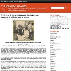 PreTextos: Discurso de Federico García Lorca al inaugurar la biblioteca de su pueblo