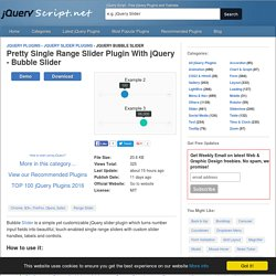 Pretty Single Range Slider Plugin With jQuery - Bubble Slider