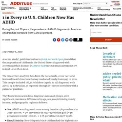 ADHD Prevalence Increases in American Children