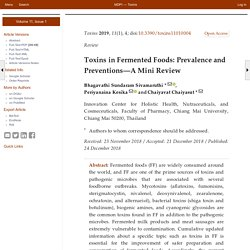 TOXINS 24/12/18 Toxins in Fermented Foods: Prevalence and Preventions—A Mini Review