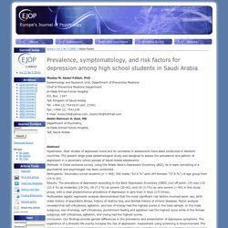 Prevalence, symptomatology, and risk factors for depression among high school students in Saudi Arabia