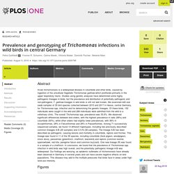 PLOS 09/08/18 Prevalence and genotyping of Trichomonas infections in wild birds in central Germany