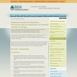 Programa Nacional de Educación y Prevención sobre las Adicciones y el Consumo Indebido de Drogas « Ministerio de Educación de la Nación Argentina