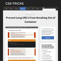 Prevent Long URL's From Breaking Out of Container