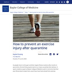 How to prevent an exercise injury after quarantine