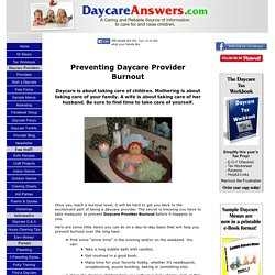Preventing Daycare Provider Burnout