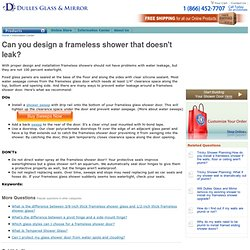 Preventing Frameless Shower Water Leakage