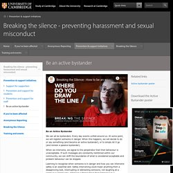 Breaking the silence - preventing harassment and sexual misconduct