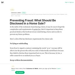 Preventing Fraud: What Should Be Disclosed in a Horse Sale?