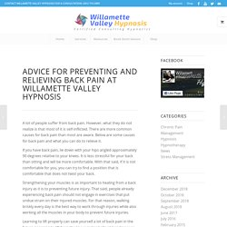 Advice For Preventing And Relieving Back Pain