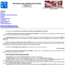 PREVENTION DES ACCIDENTS DE L'ENFANT