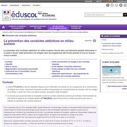 La prévention des conduites addictives en milieu scolaire : eduscol