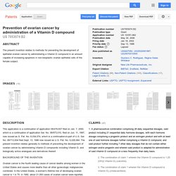 Patent US7053074 - Prevention of ovarian cancer by administration of a Vitamin D compound - Google Patents