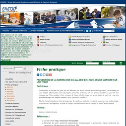 ECOLE NATIONALE SUPERIEURE DES OFFICIES DE SAPEURS POMPIERS 17/09/16 PREVENTION DE LA BORRELIOSE OU MALADIE DE LYME LORS DE MORSURE PAR UNE TIQUE