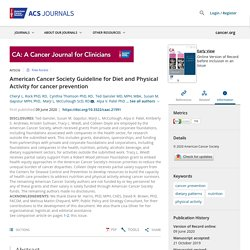 American Cancer Society Guideline for Diet and Physical Activity for cancer prevention - Rock - - CA: A Cancer Journal for Clinicians - Wiley Online Library