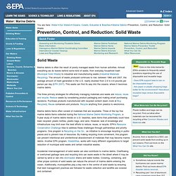 EPA - Prevention, Control, and Reduction: Solid Waste
