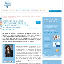 Stress et burn-out : prévention et prise en charge par l'employeur. Par Marie-Laure Arbez-Nicolas, Avocat.