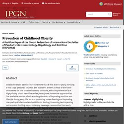 Prevention of Childhood Obesity: A Position Paper of the Glo... : Journal of Pediatric Gastroenterology and Nutrition