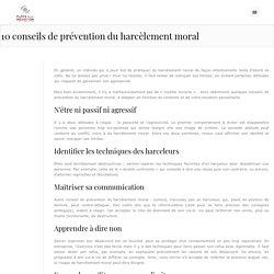 10 conseils de prévention du harcèlement moral