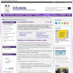 Prévention de la violence en milieu scolaire - Le harcèlement scolaire