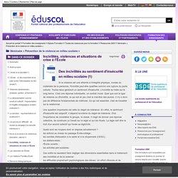 Séminaire « Prévention de la violence en milieu scolaire » - Incivilités, violences et situations de crise à l'École