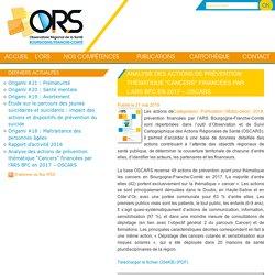 """Analyse des actions de prévention thématique """"Cancers"""" financées par l'ARS BFC en 2017 - OSCARS - ORS Bourgogne Franche-Comté"""