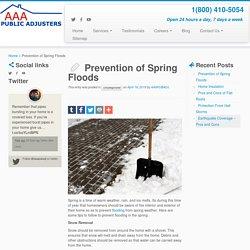 Prevention of Spring Floods