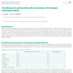 51e congrès de la Sfar. Incidence et prévention de la douleur chronique postopératoire