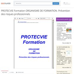 ⭐PROTECVIE Formation ORGANISME DE FORMATION. Prévention des risques professionnels