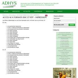 Fiche de prévention - Adhys - Recherche et Enseignement Supérieur