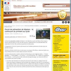 Forum de prévention de Waziers - le continuum du primaire au lycée - Éducation et sensibilisation à la sécurité routière