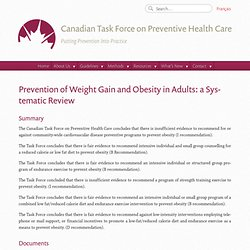 Prevention of Weight Gain and Obesity in Adults: a Systematic Review