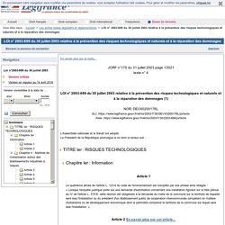 LOI n° 2003-699 du 30 juillet 2003 relative à la prévention des risques technologiques et naturels et à la réparation des dommages