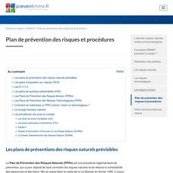 Plan de prévention des risques naturels et technologiques PPRn PPRt