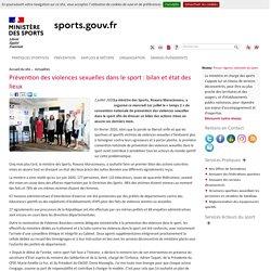 Prévention des violences sexuelles dans le sport : bilan et état des lieux / Ministère des sports, juillet 2020