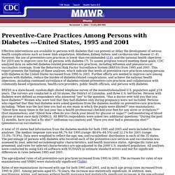 CDC MMWR 31/10/02 Preventive-Care Practices Among Persons with Diabetes