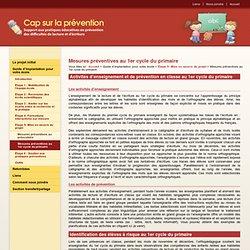 Mesures préventives au 1er cycle du primaire - Étape 5 - Cap sur la prévention