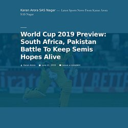World Cup 2019 Preview: South Africa, Pakistan Battle To Keep Semis Hopes Alive