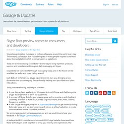 Skype Bots preview comes to consumers and developers