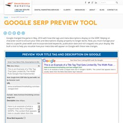 Google Title Tag SERP Preview Tool 2016