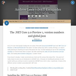 The .NET Core 2.0 Preview 1, version numbers and global.json