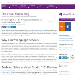 "Previewing Salsa – the New JavaScript Language Service in Visual Studio ""15"""
