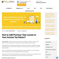 How to Add Previous Year Losses to Your Income Tax Return?