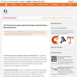 CAT Previous 22 years Question Paper and Solutions – Download Free ~ Competitive Exam Informer